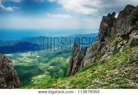 view from the cliff, beautiful landscape Crimean mountains