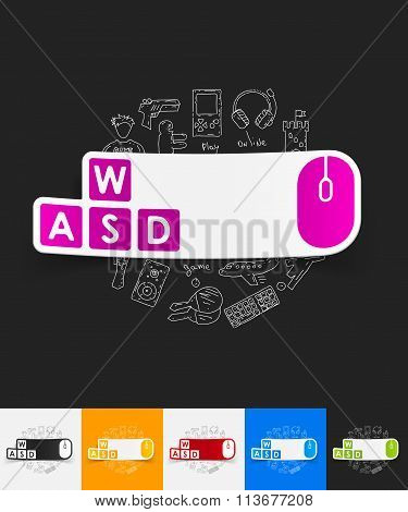 keypad paper sticker with hand drawn elements
