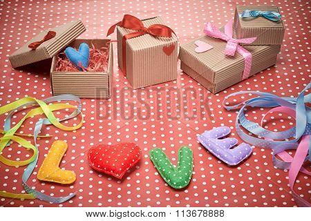 Love, Valentines Day. Word polka dots,heart,ribbon