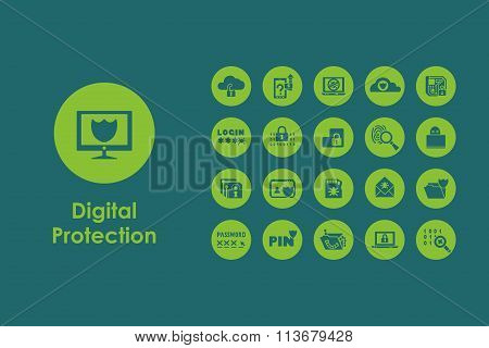 Set of digital protection simple icons