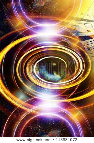 Woman Eye and music note and cosmic space with stars. abstract color background, and yellow light, f