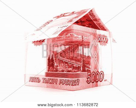 Red Russian Ruble House, Rouble Banknote Isolated On White Background
