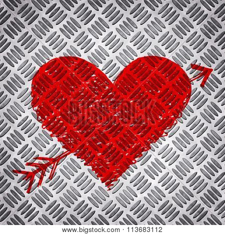 Red Bright Heart On Metal Diamond Plate