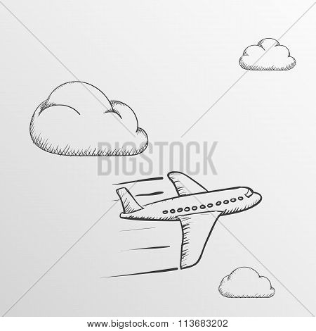 Doodle Airplane. Stock Illustration.