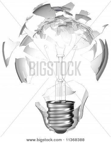 Bad Idea. Smashed Lightbulb Isolated