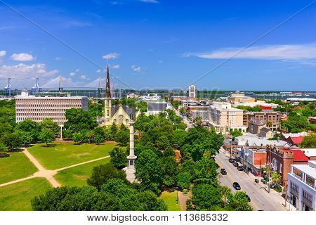 Charleston, South Carolina, USA skyline over Marion Square.