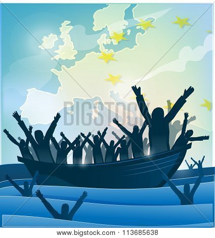 Immigration People With  The Boat On European Map.