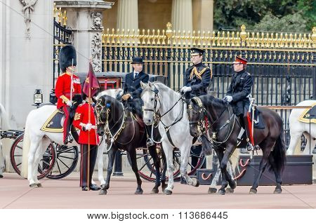 The Guard Ceremony At Buckingham Palace, London