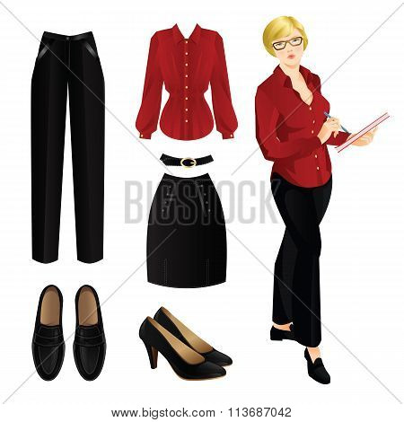 Blonde woman in black pants and red blouse.