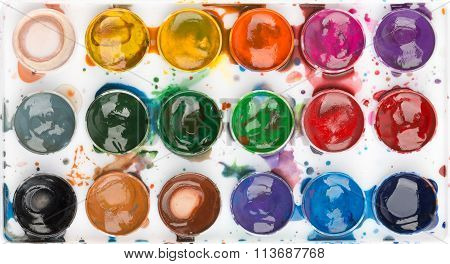 Watercolor paints. Colorful background. Template for printing on phone