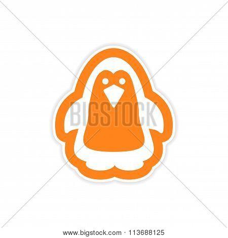 paper sticker on white background Arctic penguin
