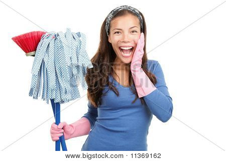 Cleaning Happy Woman Surprised