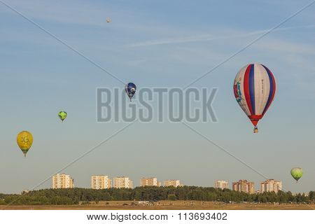 Different Air-Balloons Levitating During International Aerostatics Cup 70 Years of Peaceful Sky