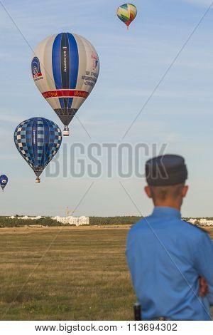 Minsk-belarus, July 19, 2015: Policeman On His Watch During International Aerostatics Cup Called 70