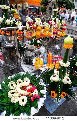 Offerings Of Flower Garlands At Buddhist Temple