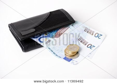wallet and euros