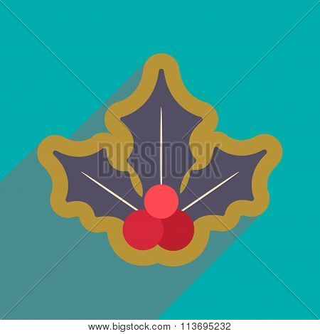flat icon with long shadow Christmas mistletoe