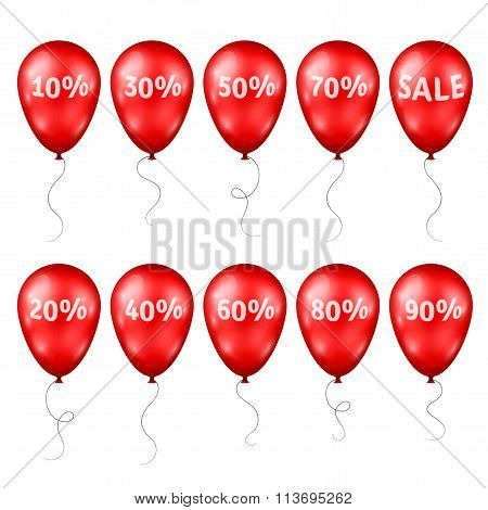 Red Balloons with Percents and Sale Text