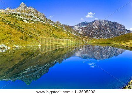 Mountain Lake Like The Mirror, Caucasus, Russia