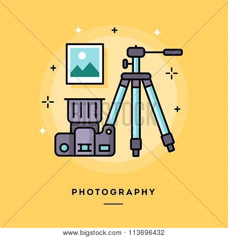 Photography, Flat Design Thin Line Banner