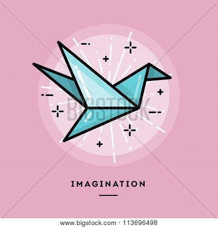 Imagination, Flat Design Thin Line Banner