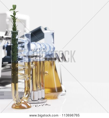 green plant in chemical laboratory science and technology concept background