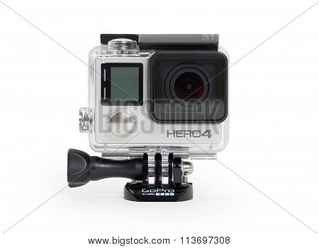 Amsterdam, The Netherlands - June 30, 2015: Gopro Hero 4 Black Edition Isolated On White Background,