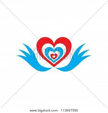 Flat web icon on white background heart wings