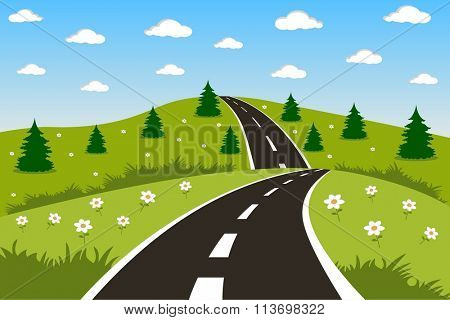 Green landscape with road