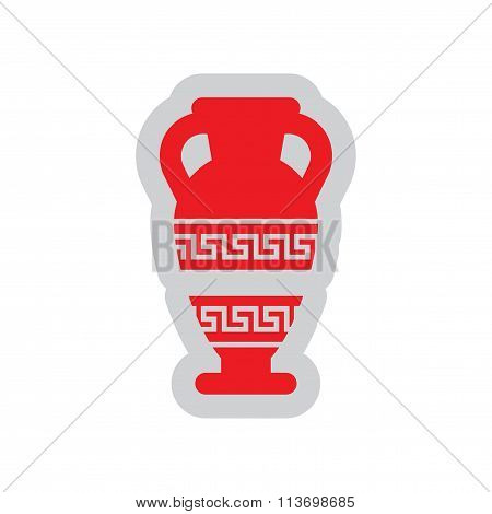 Flat web icon on white background amphora