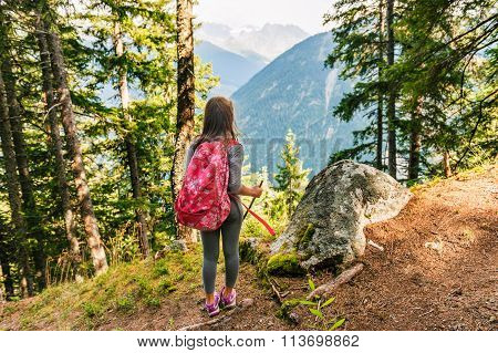 Cute little girl hiking in swiss Alps, admire amazing view