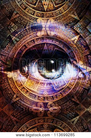 Ancient Mayan Calendar and woman eye,  abstract color Background, computer collage. Eye in circle li