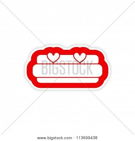 paper sticker on white background bed Honeymoon