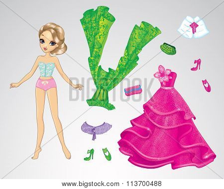 Paper Cinderella Pink Doll