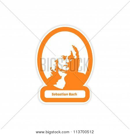 paper sticker on white background Sebastian Bach