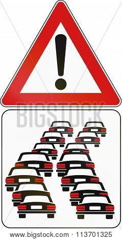 Road Sign Used In Italy - Danger Of Queues