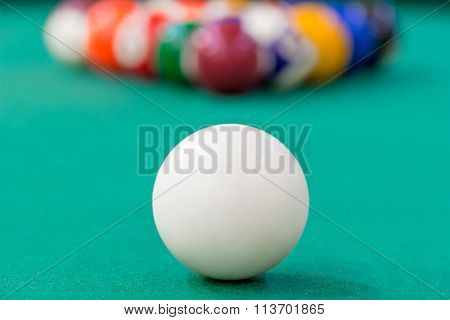 White Cue Ball Close-up On Green Cloth