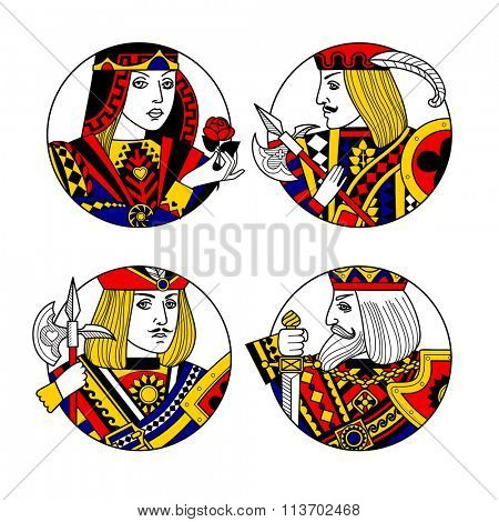 Round shapes with faces of playing cards characters. Original vintage design. Vector illustration
