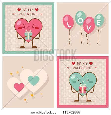 Valentines day Heart Gift Boy Girl Icons Modern Flat Design Poster Template Vector Illustration