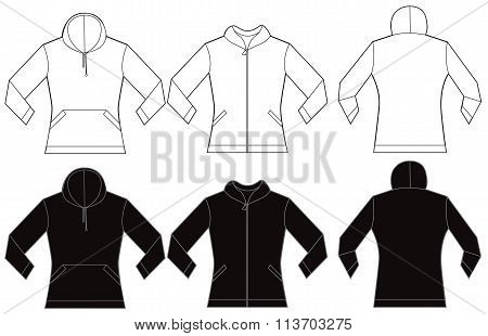 Black White Women's Hooded Shirt Design Template