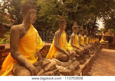 Asia Thailand Ayuthaya Wat Yai Chai Mongkhon