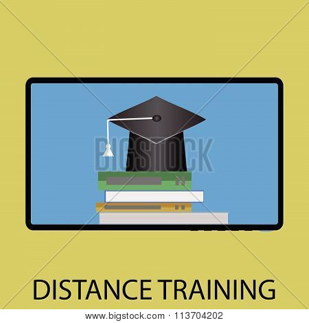 Distance training icon flat design