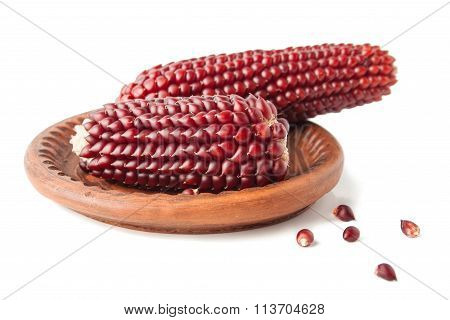 Maize Cobs In The Ceramics Saucer