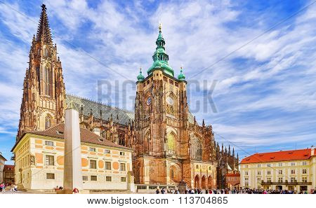 Prague, Czech Republic-september 05, 2015:people Near Metropolitan Cathedral Of Saints Vitus, Wences