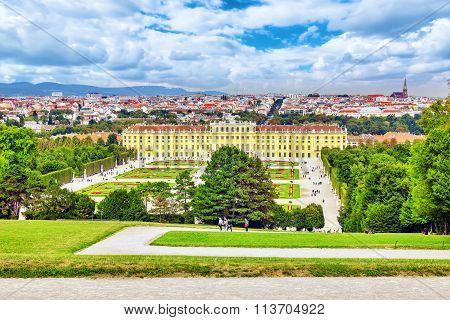 Vienna, Austria-september 10, 2015: Upper Belvedere. Tourists, People Near Main Palace Complex Belve