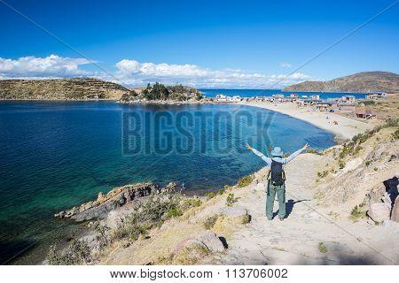 Woman On Island Of The Sun, Titicaca Lake, Bolivia
