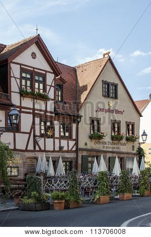 NUREMBERG, GERMANY - AUGUST 23, 2015: Half-timbered house with the restaurant
