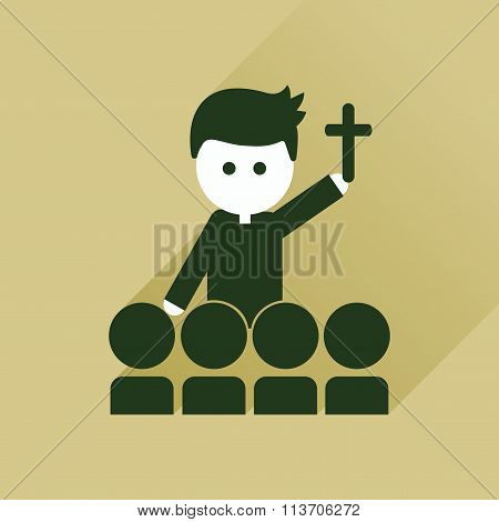 Flat icon with long shadow Catholic priest