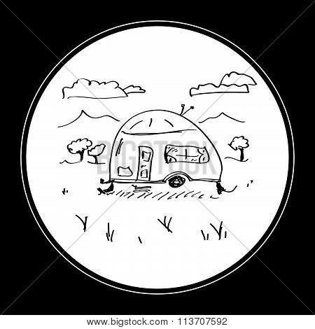 Simple Doodle Of A Caravan