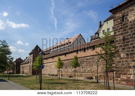 City Walls Along The Frauentorgraben In Nuremberg, Germany
